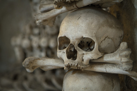 old bones and skulls in the Gothic vault of Kutna Hora. Ossuary. photo