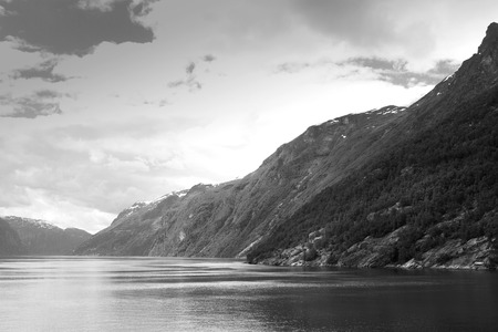 neroyfjord: scenic landscapes of the northern Norwegian fjords.  stylish retro black and white photos