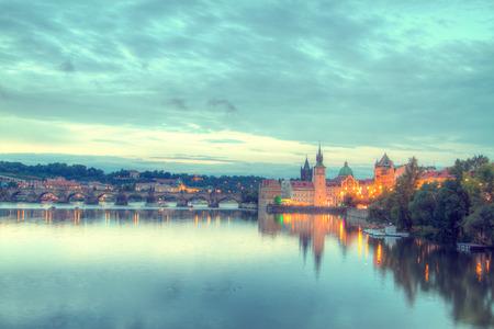 Prague at night.  Reklamní fotografie