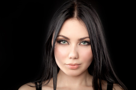 fake eyelashes: Close-up portrait of young beautiful woman with trendy make-up and hairstyle Stock Photo