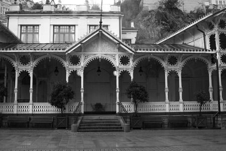 karlovy vary: Termal mineral spring in Karlovy Vary. Czech Republic. vintage black and white photos in retro
