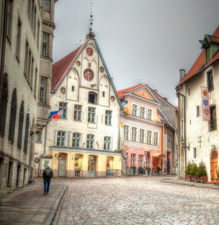 Old streets of European cities. Cozy cottages. Tallinn the capital of Estonia on the Baltic Sea. photo