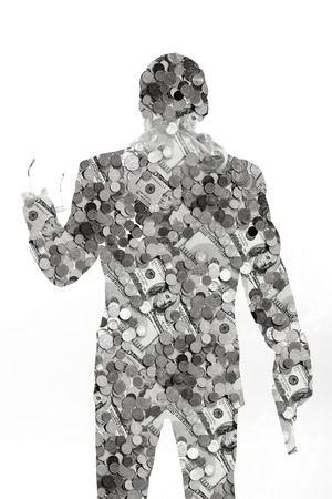 money man with a gun. a lot of money a lot of power and a lot of opportunities. what man is ready for the money. philosophy and psychology. black and white. secret desires of man photo