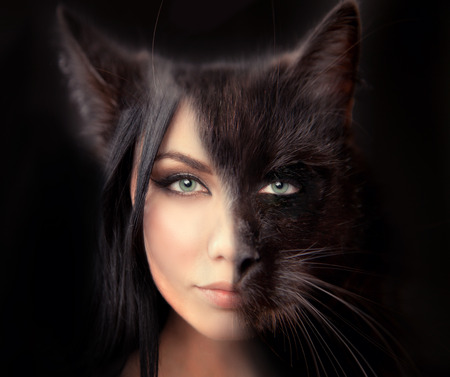 cat woman. Werewolf symbiosis of man and cat. The hidden nature of women walking alone. a symbol of independence. Passion and sexuality, danger and desire. Stock Photo
