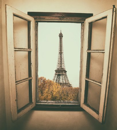 paris: vintage retro style. Window to Paris. Architecture of Paris .France. Europe Stock Photo