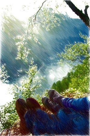 honeymooners: newlyweds honeymoon vacation in Norway. photo in the mountains near the lake.