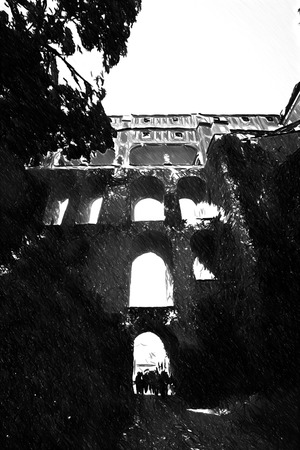unesco: Black and white sketch sketches recognizable places in Europe. Cesky Krumlov. Beautiful Czech fabulous city