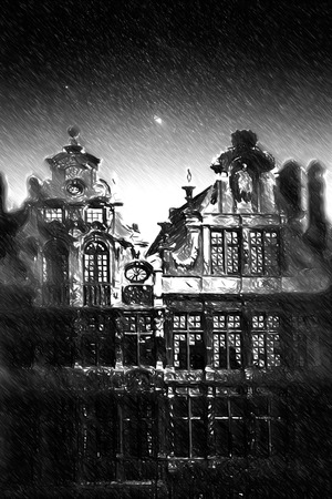 hotel hall: Brussels night. Black and white sketch sketches recognizable places in Europe. Stock Photo
