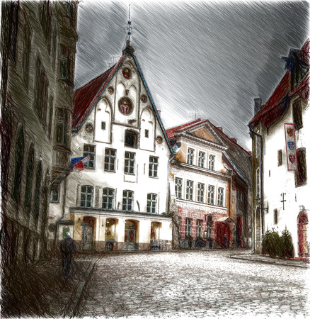 european cities: Old streets of European cities. Cozy cottages. Tallinn the capital of Estonia on the Baltic Sea.