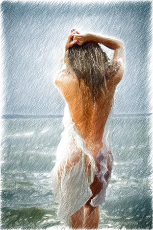 nue plage: sexy érotique jeune fille nue sur la plage la nuit