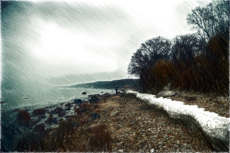 thawing: Sea in spring cloudy mist spreads and goes rain Stock Photo