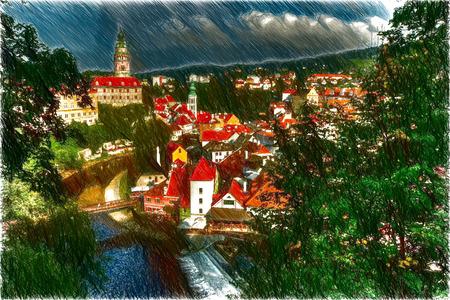 unesco: Cesky Krumlov. Beautiful Czech fabulous city