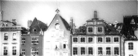european cities: Black and white sketch sketches recognizable places in Europe. Old streets of European cities. Cozy cottages. Tallinn the capital of Estonia on the Baltic Sea.