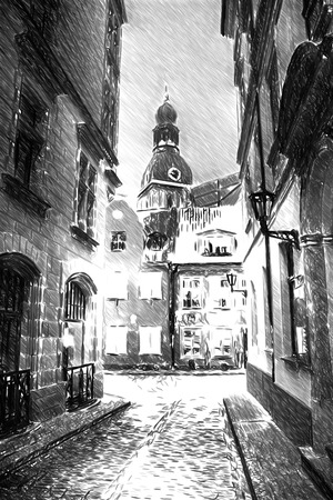 narrow street: Black and white sketch sketches recognizable places in Europe. Vintage retro travel image of a narrow medieval street in old town Riga