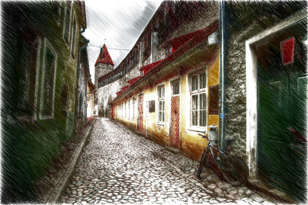 european culture: bike on the street. Old streets of European cities. Cozy cottages. Tallinn the capital of Estonia on the Baltic Sea.