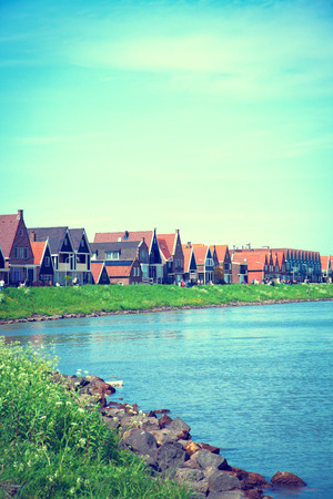 volendam: ishing village of Volendam in Holland in the summer by the sea.  Stock Photo