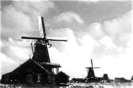 Black and white sketch sketches recognizable places in Europe. Traditional dutch windmills Stock Photo