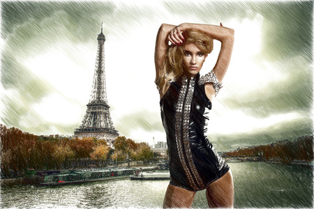 bad weather: lifestyle. sexy young blonde French dancer standing against the background of the Eiffel Tower in Paris in bad weather. Vintage retro style.