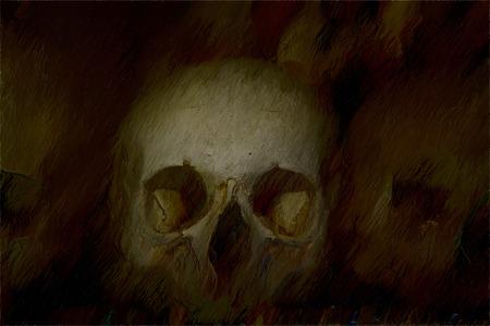 parietal: old bones and skulls in the Gothic vault of Kutna Hora. Ossuary. illustration