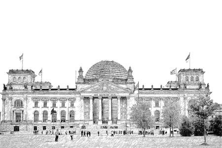 council: illustration. facade of the national german parliament, Berlin, Fassade des Reichstages, Sitz des deutschen Bundestages