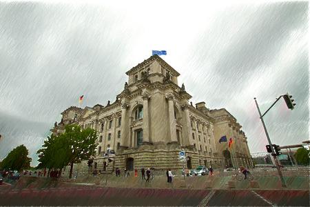 parliament: illustration. facade of the national german parliament, Berlin, Fassade des Reichstages, Sitz des deutschen Bundestages