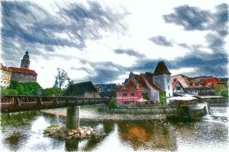 Cesky Krumlov. Beautiful Czech fabulous city