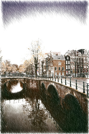 amsterdam canal: vintage retro style.Amsterdam. beautiful places in Europe