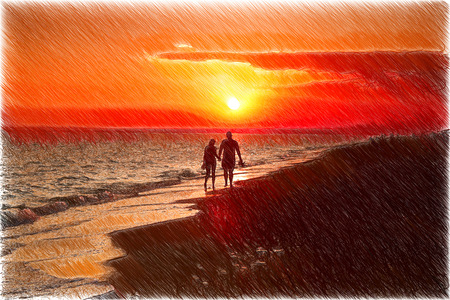 admires: girl with a man walking on the beach admires the sunset by the sea