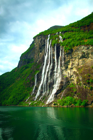 Geiranger Fjord (Norge) and waterfall Seven sisters Stock Photo