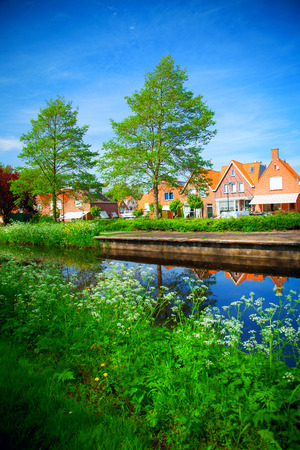 volendam: fishing village of Volendam in Holland in the summer by the sea. Stock Photo