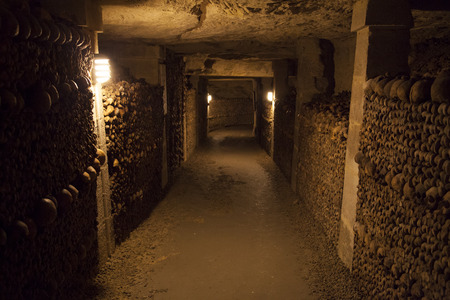 パリのカタコンベ。以上 600 万人の地下埋葬。 報道画像