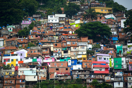 poverty: Colorful painted buildings of Favela  in Rio de Janeiro Brazil