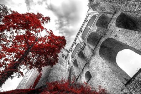 Black and white photo with the color red.  Cesky Krumlov, Czech republic Standard-Bild