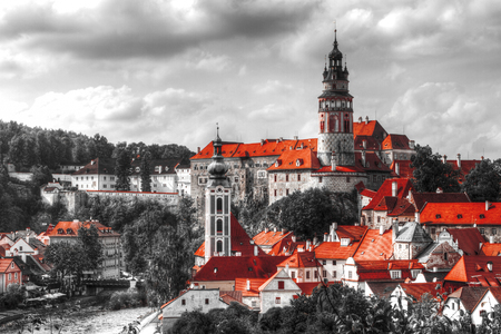white color: Black and white photo with the color red. View on Cesky Krumlov,Czech republic