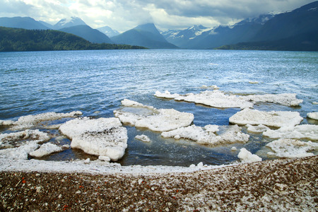 scenic spots: melt the ice in the ocean on a background of mountains. scenic spots