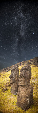 easter island: Milky Way. Moais at Ahu Tongariki (Easter island, Chile)