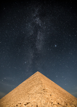 Milky Way. pyramids of the pharaohs in Giza. Cairo, Egypt Stock Photo