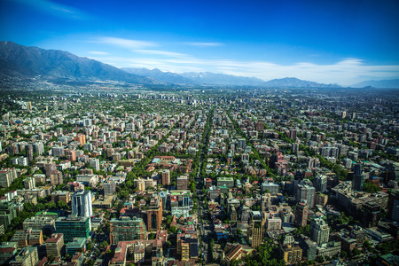 andes mountain: Panoramic view of Santiago de Chile and Los Andes mountain range