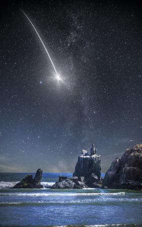 falling star .rock in the ocean. Peru. South America