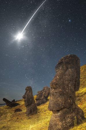 easter island: falling star . Moais at Ahu Tongariki (Easter island, Chile) Stock Photo