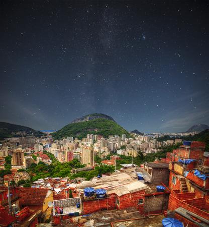 underprivileged: Favela night. Rio de Janeiro Slums at Night