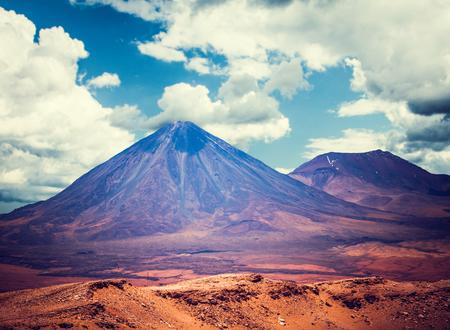 san: beautiful view on the volcano licancabur near San Pedro de Atacama, Chile, South America