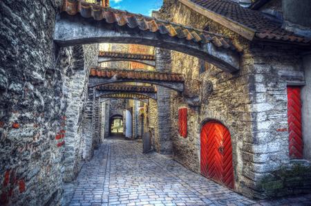 Passage St. Catherine's in Tallinn, Estland. middeleeuwse stad in Europa Stockfoto