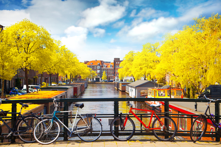 Amsterdam herfst. mooie plekken in Europa Stockfoto