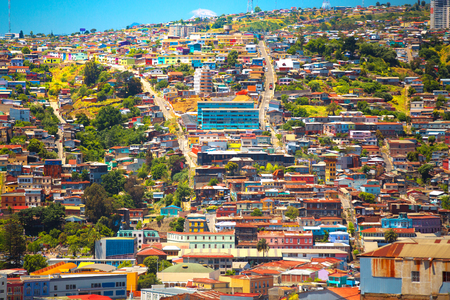 Colorful buildings on the hills of the city of Valparaiso, Chile