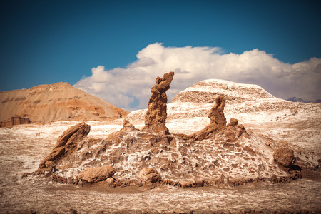 Salt sculptures is beautiful geological formation of Moon Valley in Atacama Desert - Chile, Latin America