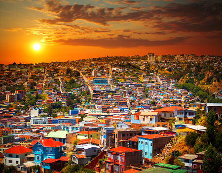 Colorful buildings on the hills of  city of Valparaiso, Chile Stok Fotoğraf