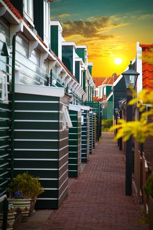 volendam: Traditional houses in Holland town Volendam, Netherlands Stock Photo