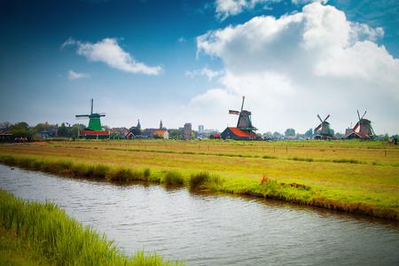 zaandam: Traditional Dutch old wooden windmill in Zaanse Schans. village in Zaandam. The Netherlands.