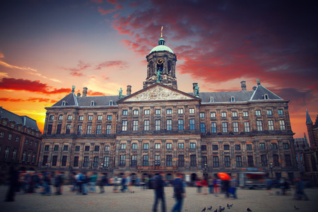 dam square: Royal Palace at the Dam Square, Amsterdam. It was built as city hall during the Dutch Golden Age in the seventeenth century.